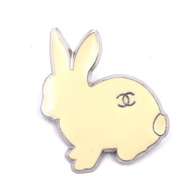 Chanel-Chanel Silver White Cream CC Bunny Brooch-Other