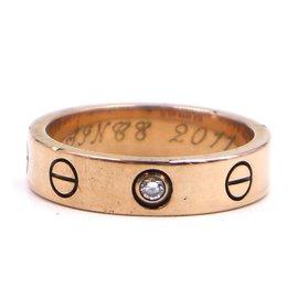 Cartier-Cartier Rose Gold 18K 750 1P Diamond Love Ring Size 47-Golden