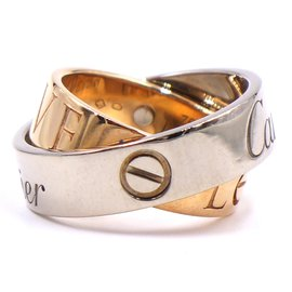 Cartier-Cartier White Gold Rose Gold 18K 750 Secret Love Ring Size 49-Silvery