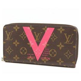Louis Vuitton-Louis Vuitton Zippy Wallet V motif unisex long wallet M60936 pink-Pink