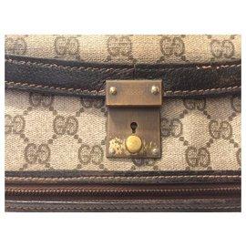 Gucci-GUCCI vintage document case-Brown,Beige