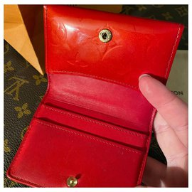 Louis Vuitton-Louis Vuitton Vermilion Red Coin Purse in Patent Leather-Red