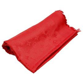 Louis Vuitton-Louis Vuitton Red Monogram Shine Shawl-Red,Dark red