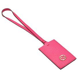 Gucci-Gucci Pink Interlocking G Leather Key Chain-Pink