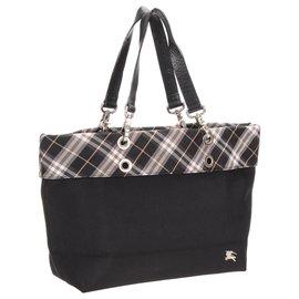 Burberry-Burberry Black Plaid Nylon Tote Bag-Black,Multiple colors