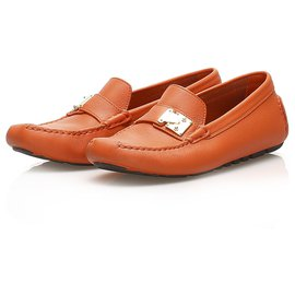 Louis Vuitton-Louis Vuitton Orange Driving Leather Shoes-Orange
