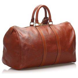 Louis Vuitton-Louis Vuitton Brown Epi Keepall 45-Brown