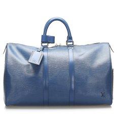 Louis Vuitton-Louis Vuitton Blue Epi Keepall 45-Blue