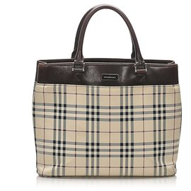 Burberry-Burberry Brown House Check Canvas Tote Bag-Brown,Beige