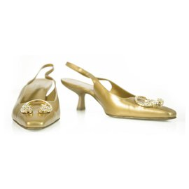 Tom Ford-Tom Ford For Gucci Dragon Head Gold Leather Medium Heel Pumps Shoes size 36,5 C-Golden
