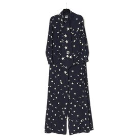 Chanel-NAVY SILK STARS AND MOON FR38-Cream,Navy blue