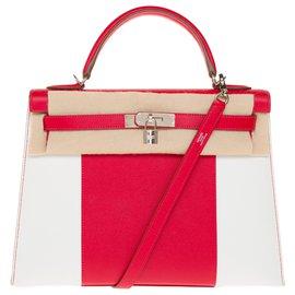 Hermès-Série limitée / Kelly sellier Flag/ Sublime Hermès Kelly 32 sellier bandoulière en cuir epsom blanc et rouge casaque, garniture en métal argent palladium-Blanc,Rouge