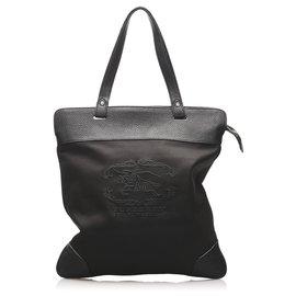 Burberry-Burberry Black Canvas Tote Bag-Brown,Black