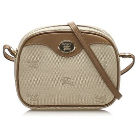 Burberry-Burberry Brown Canvas Crossbody Bag-Brown,Beige