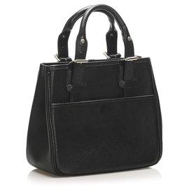 Burberry-Burberry Black Leather Tote Bag-Black