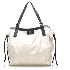 Burberry-Burberry White Nylon Tote Bag-Black,White