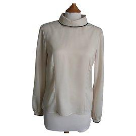 Chanel-CHANEL UNIFORM Long-sleeved blouse ecru T38-Beige