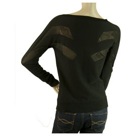 Surface To Air-Surface to air Black Cotton Viscose Knit Sheer Panels Top Blouse size 34-Black