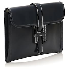 Hermès-Hermes Black Jige PM Leather Clutch Bag-Black