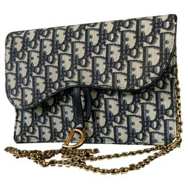 Christian Dior-Saddle pouch-Navy blue