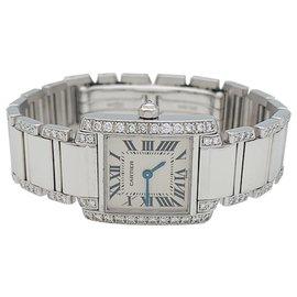 """Cartier-Montre Cartier, """"Tank Française"""", or blanc et diamants.-Autre"""