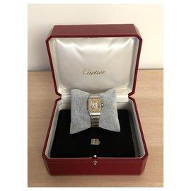 Cartier-Montre Cartier Santos en Or et Acier-Argenté