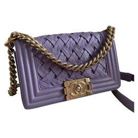 Chanel-Chanel Boy Mini Paris-Versailles bag-Purple,Lavender,Gold hardware