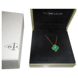 Van Cleef & Arpels-Van Cleef et Arpels Van Cleef et Arpels  18Collier pendentif Alhambra en or K et diamants-Jaune