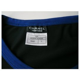 Chanel-CHANEL UNIFORM T-shirt long sleeves navy MIXTE TL NEUF-Navy blue