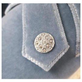 Chanel-Chanel Blue Velvet  Loafers Wedges Shoes Sz 38,5-Blue