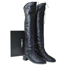 Chanel-Chanel Matelasse Black Leather Over Knee Boots Sz. 38-Black