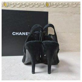 Chanel-Chanel Black Textile Suede Sandals Size 39-Black