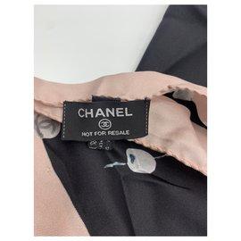 Chanel-Silk scarves-Black,Beige