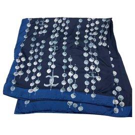 Chanel-Silk scarves-Navy blue