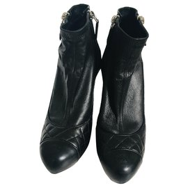 Chanel-Ankle Boots-Black,Silver hardware