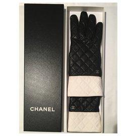 Chanel-Gloves-Black,White,Cognac