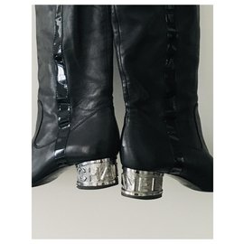 Chanel-Boots-Black,Silver hardware