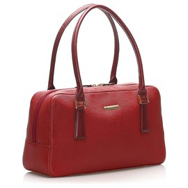 Burberry-Burberry Red Leather Handbag-Red