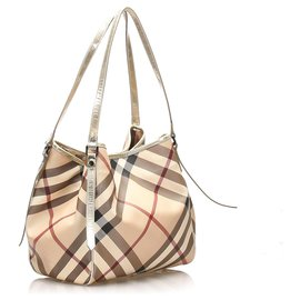 Burberry-Burberry Brown Supernova Check Canterbury Canvas Tote Bag-Brown,Multiple colors,Beige