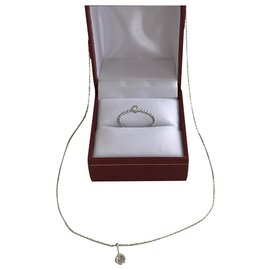 Djula-Solitaire pendant and chain. solitaire ring-Silvery