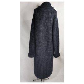Chanel-oversize knit coat-Navy blue
