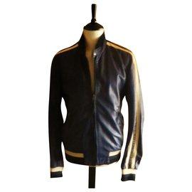 Autre Marque-MCS leather jacket (MARLBORO CLASSICS) size L perfect condition-Blue