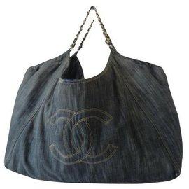 Chanel-Sac Cabas XXL Denim Chanel-Bleu foncé