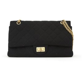 Chanel-Chanel 255 MAXI BLACK JERSEY-Black,Gold hardware