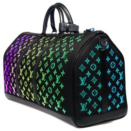 Louis Vuitton-Extremely rare ultra-limited bag / Men's Fall-Winter Show 2019/ Louis Vuitton Keepall bag 50 Light Up shoulder strap-Black,Multiple colors
