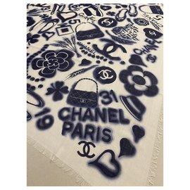 Chanel-Chanel shawl-White,Blue