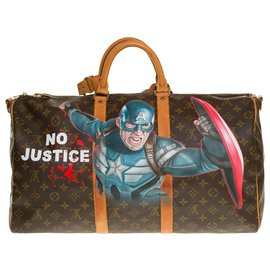 "Louis Vuitton-Exceptional Louis Vuitton Keepall travel bag 50 ""Captain America III"" custom monogram canvas shoulder strap by the artist PatBo-Brown"