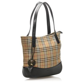 Burberry-Burberry Multi House Check Canvas Tote Bag-Black,Multiple colors