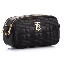 Burberry-Burberry Black TB Leather Crossbody Bag-Black