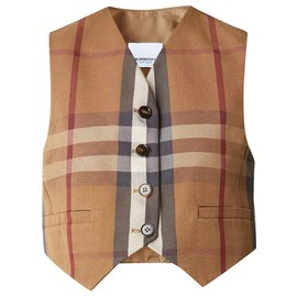 Burberry-burberry Check Technical Cotton Cropped Waistcoat-Brown,Multiple colors